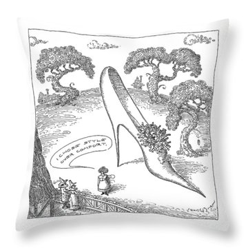 Old Style Drawings Throw Pillows