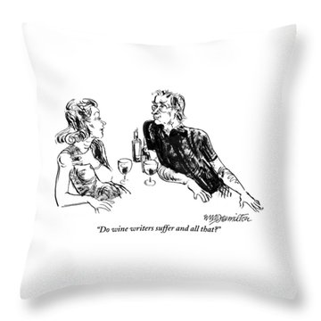 A Woman Is Seen Speaking With A Man As They Drink Throw Pillow