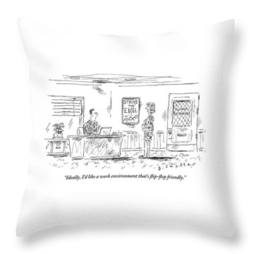 A Woman Is Talking To A Man Seated At A Desk Throw Pillow