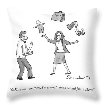 A Woman Juggles Two Children And A Briefcase Throw Pillow