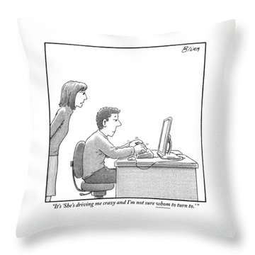 A Woman Looks Over Her Husband's Shoulder Throw Pillow