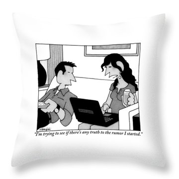 A Woman On A Laptop Is Seen Sitting And Speaking Throw Pillow