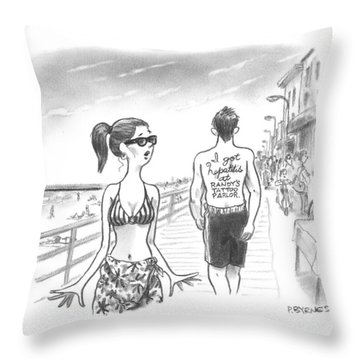 A Woman Passes A Man On The Boardwalk. Tattooed Throw Pillow