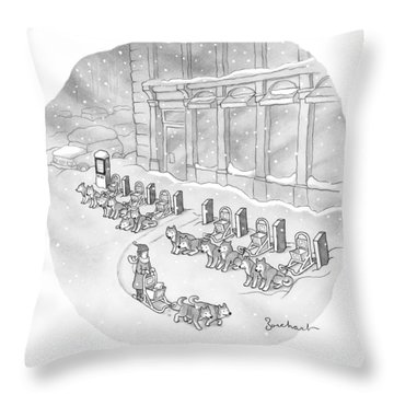 A Woman Rents A Dog Sled Out Of A Row Of Kiosks Throw Pillow