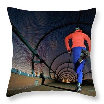 A Woman Running In Boulder, Co Throw Pillow
