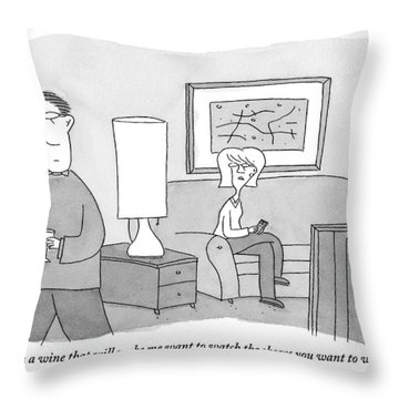 A Woman Seated On A Couch In Front Throw Pillow