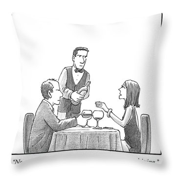 A Woman Sitting With Her Husband At A Restaurant Throw Pillow