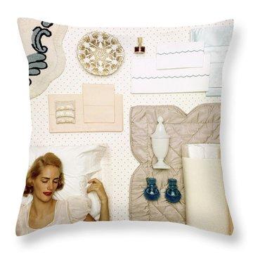 A Woman Sleeping Next To An Assorted Range Throw Pillow