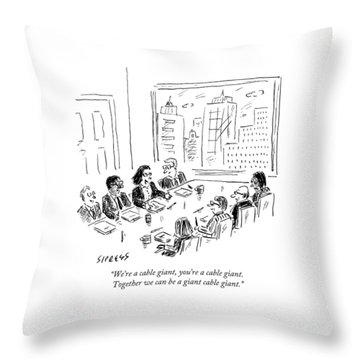 A Woman Speaks Across The Table At A Full Board Throw Pillow