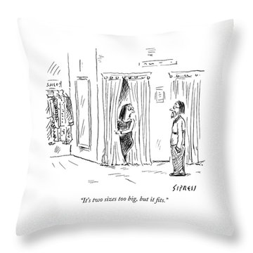 A Woman Speaks To Her Husband While Peering Throw Pillow