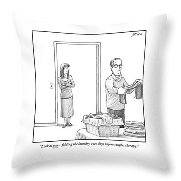A Woman Stands In The Doorway Talking Throw Pillow