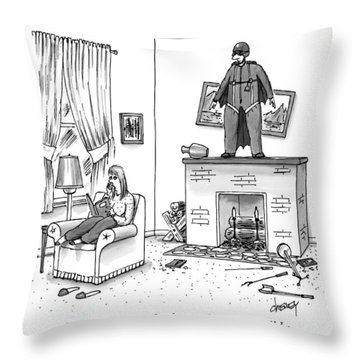 A Woman Talking On The Phone While A Man Throw Pillow