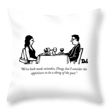 A Woman Talks To A Man While They Are Eating Throw Pillow