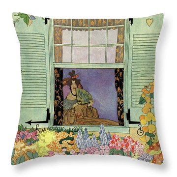 A Woman With A Fan Throw Pillow