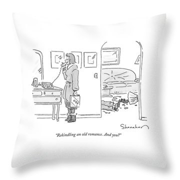 A Woman With Lighter Fluid Talks On The Phone Throw Pillow