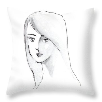 A Woman With Long Hair Throw Pillow