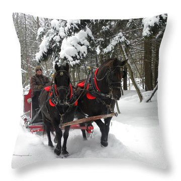 A Wonderful Day For A Sleigh Ride Throw Pillow