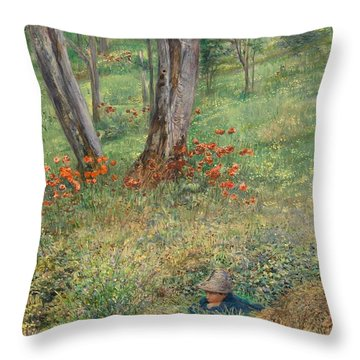A Woodland Hideout  Throw Pillow by Giovanni Costa