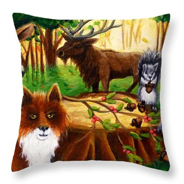A Woodland Thanksgiving Throw Pillow