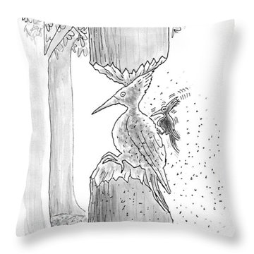 A Woodpecker Is Using His Beak To Carve Is Own Throw Pillow