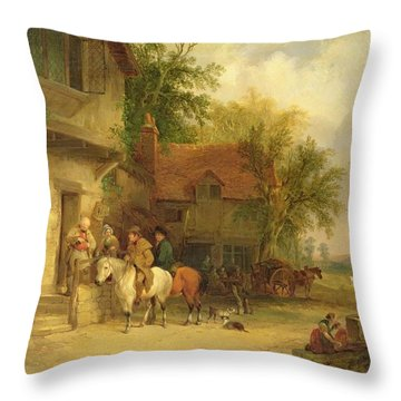 A Woodside Inn, 1841 Throw Pillow by William Snr. Shayer