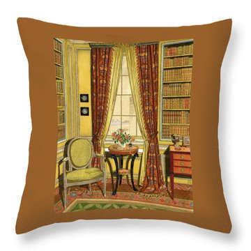 A Yellow Library With A Vase Of Flowers Throw Pillow