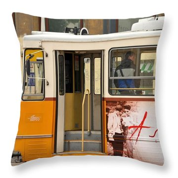 A Yellow Tram On The Streets Of Budapest Hungary Throw Pillow