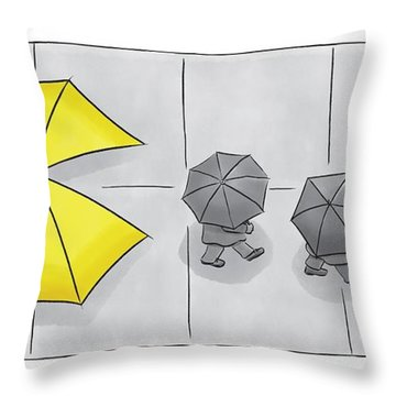 A Yellow Umbrella With A Pacman Mouth Throw Pillow