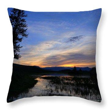 A Yellowstone Lake Before Sunrise Throw Pillow