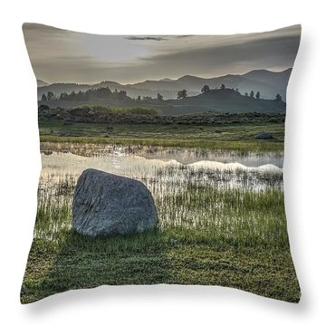 Throw Pillow featuring the photograph A Yellowstone Sunrise And Hazy Morning Ridges by Bill Gabbert