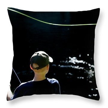 A Young Boy Fly Fishes At Gunpowder Throw Pillow