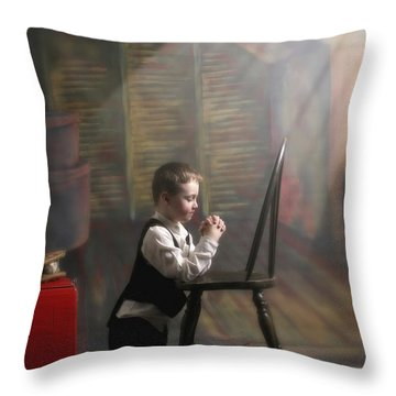 A Young Boy Praying With A Light Beam Throw Pillow by Pete Stec