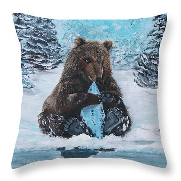 Throw Pillow featuring the painting A Young Brown Bear by Sharon Duguay