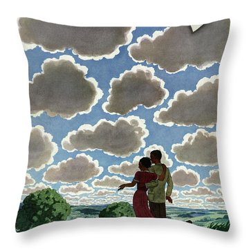 A Young Couple And Their Dogs On A Hilltop Throw Pillow