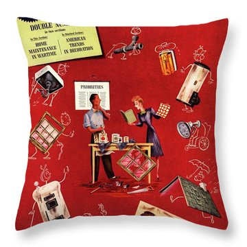 A Young Couple Surrounded By Infrastructure Throw Pillow