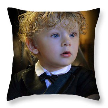 Throw Pillow featuring the photograph A Young Gentleman by Ally  White