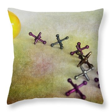 A Young Girls Game From 1950 Throw Pillow by David and Carol Kelly