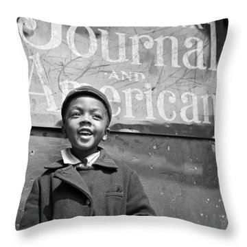 A Young Harlem Newsboy Throw Pillow by Underwood Archives