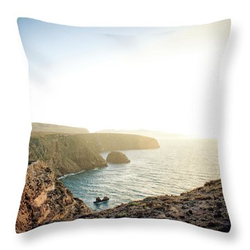 A Young Man Looks Over The Edge Throw Pillow