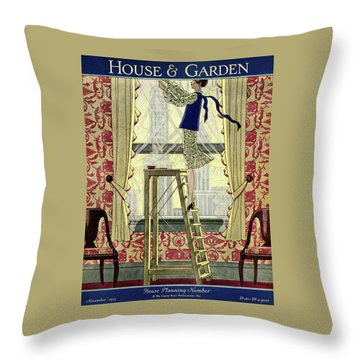 A Young Matron Adjusting Curtains Throw Pillow