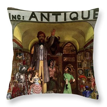 A Young Matron In Front Of A Antique Store Throw Pillow