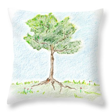 A Young Tree Throw Pillow by Keiko Katsuta