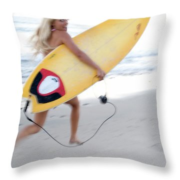 A Young Woman Is Running Throw Pillow