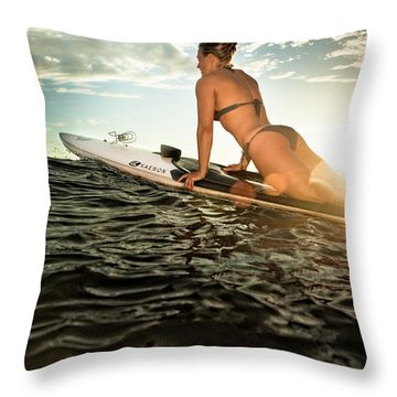 A Young Woman On A Paddleboard Throw Pillow