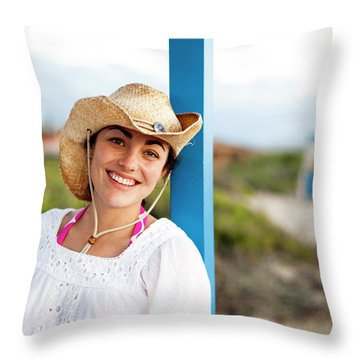 A Young Woman Sits In A Lounge Bed Throw Pillow