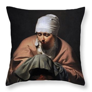 A Young Woman Warming Her Hands Over A Brazier Allegory Of Winter, C. 1644-1648, By Cesar Boetius Throw Pillow