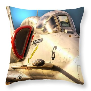 A4 Skyhawk Attack Jet Throw Pillow by Thomas Woolworth