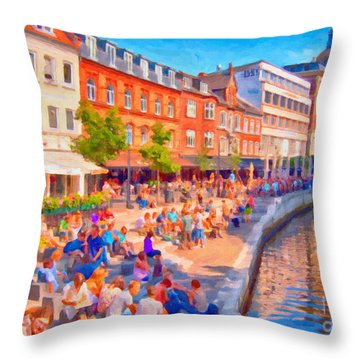 Aarhus Canal Digital Painting Throw Pillow