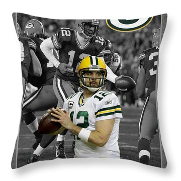 Aaron Rodgers Packers Throw Pillow by Joe Hamilton