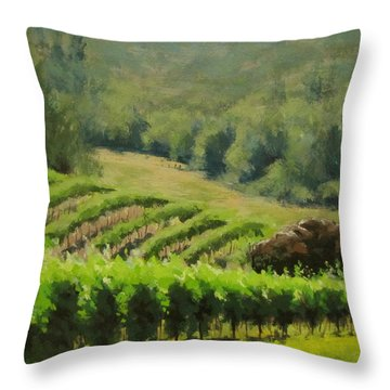 Abacela Vineyard Throw Pillow by Karen Ilari